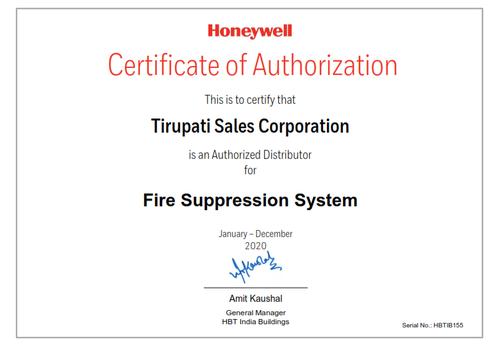 Tirupati Sales Corporation HON Distributor Certificate Fire Suppression_001.png