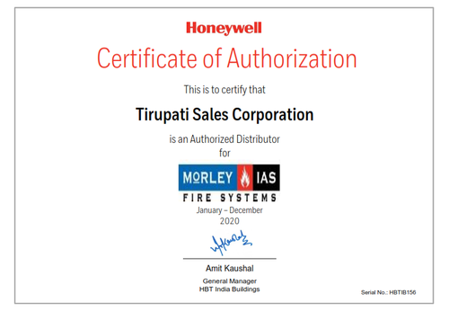 Tirupati Sales Corporation HON Distributor Certificate Morley_001.png