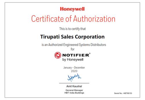 Tirupati Sales Corporation HON Distributor Certificate Notifier_001.png